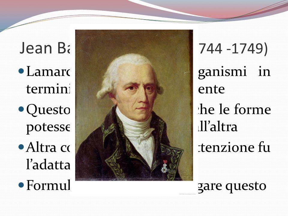 Jean Baptiste Lamarck (1744 -1749) Lamarck pensava agli organismi in termini di complessità crescente Questo lo portò a pensare che le forme potessero