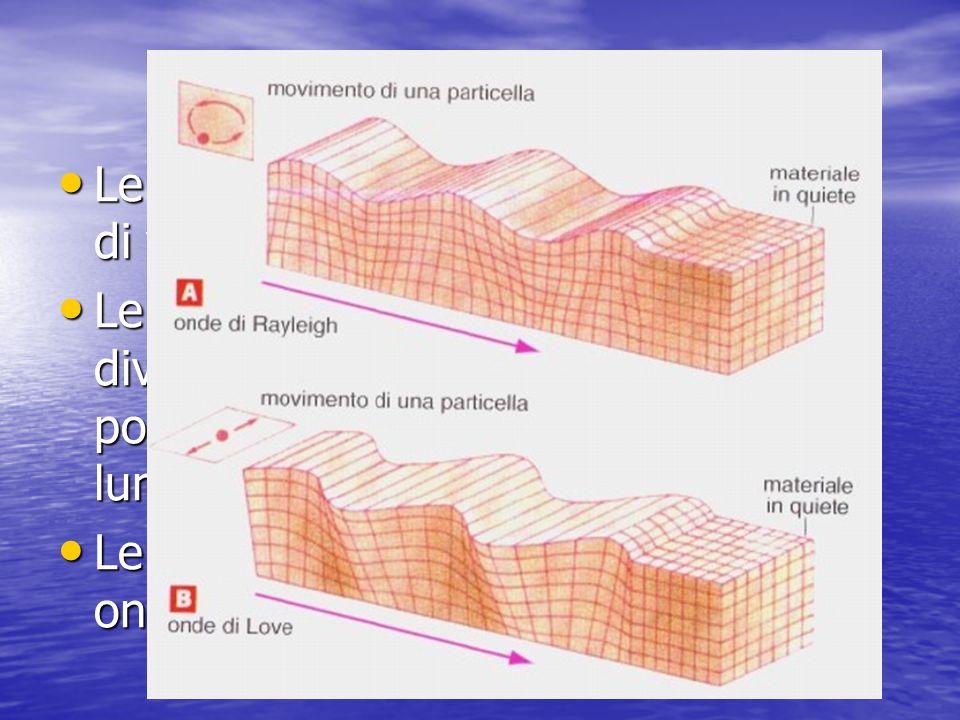 Le onde sismiche Le onde sismiche si dividono in onde di volume e in onde di superficie Le onde sismiche si dividono in onde di volume e in onde di superficie Le onde di volume a loro volta si dividono un onde p e onde s e possono viaggiare per distanze lunghissime Le onde di volume a loro volta si dividono un onde p e onde s e possono viaggiare per distanze lunghissime Le onde di superficie si dividono in onde Rayleight e onde Love Le onde di superficie si dividono in onde Rayleight e onde Love