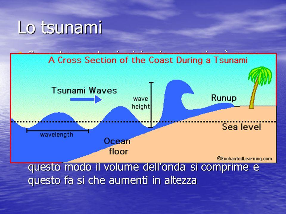 Lo tsunami Se un terremoto si origina in mare si può avere uno tsunami Lo scuotimento del fondo marino provoca delle azioni di compressione e decompressione che arrivano in superficie generando dello onde basse ma lunghe L'attrito che l'onda incontra nei pressi della costa ne riduce la lunghezza d'onda ma in questo modo il volume dell'onda si comprime e questo fa si che aumenti in altezza
