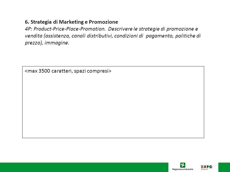 6.Strategia di Marketing e Promozione 4P: Product-Price-Place-Promotion.