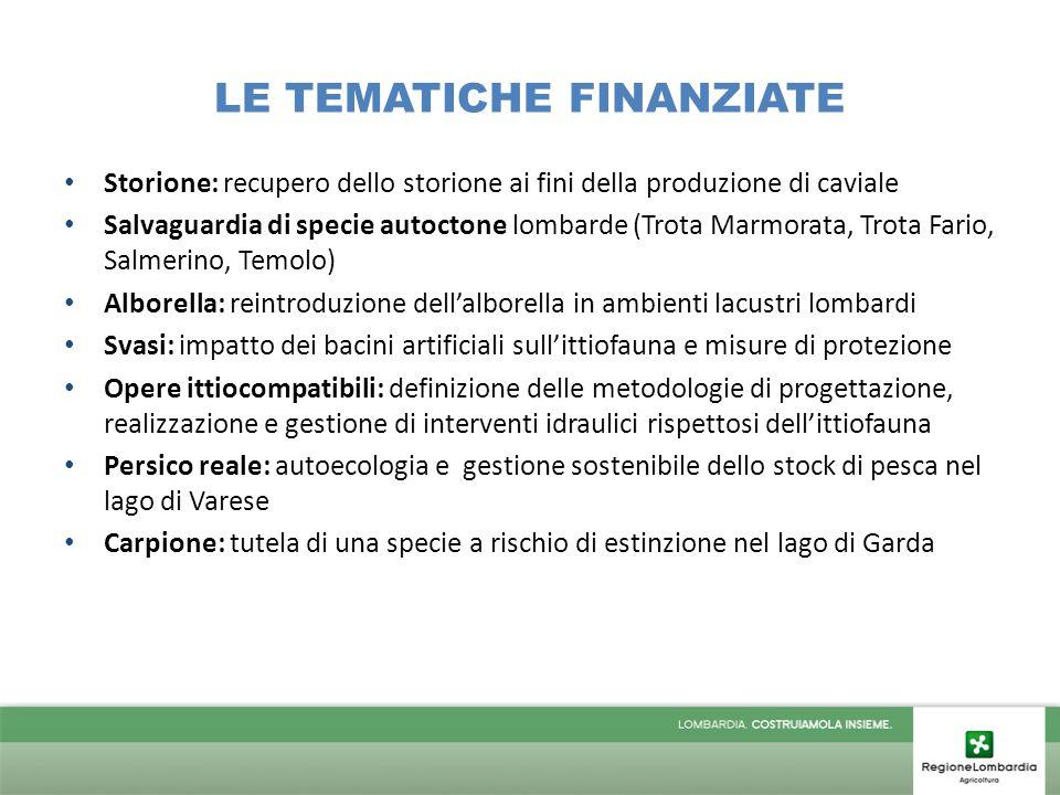 LE TEMATICHE FINANZIATE Storione: recupero dello storione ai fini della produzione di caviale Salvaguardia di specie autoctone lombarde (Trota Marmora