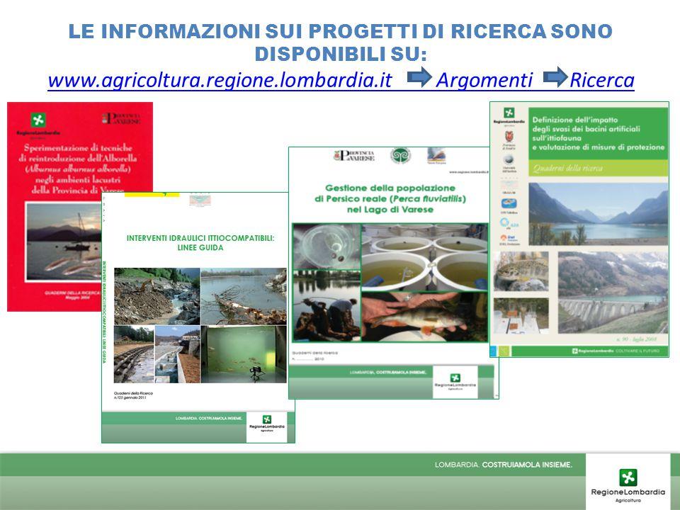 LE INFORMAZIONI SUI PROGETTI DI RICERCA SONO DISPONIBILI SU: www.agricoltura.regione.lombardia.it Argomenti Ricerca www.agricoltura.regione.lombardia.