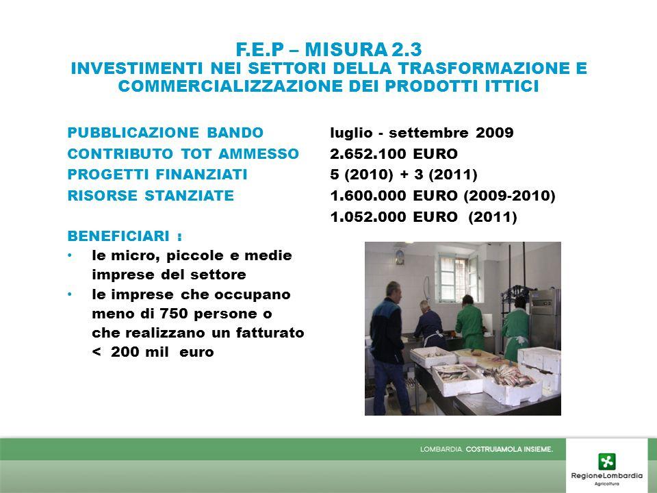 F.E.P – MISURA 2.3 INVESTIMENTI NEI SETTORI DELLA TRASFORMAZIONE E COMMERCIALIZZAZIONE DEI PRODOTTI ITTICI PUBBLICAZIONE BANDOluglio - settembre 2009 CONTRIBUTO TOT AMMESSO2.652.100 EURO PROGETTI FINANZIATI5 (2010) + 3 (2011) RISORSE STANZIATE 1.600.000 EURO (2009-2010) 1.052.000 EURO (2011) BENEFICIARI : le micro, piccole e medie imprese del settore le imprese che occupano meno di 750 persone o che realizzano un fatturato < 200 mil euro