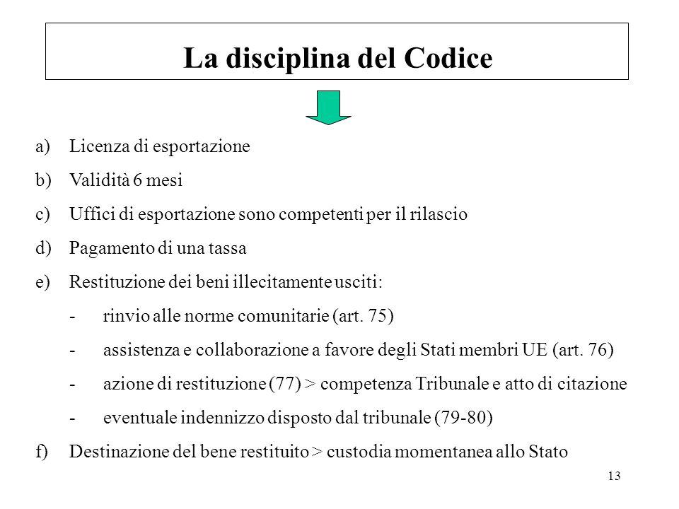 13 La disciplina del Codice a)Licenza di esportazione b)Validità 6 mesi c)Uffici di esportazione sono competenti per il rilascio d)Pagamento di una ta