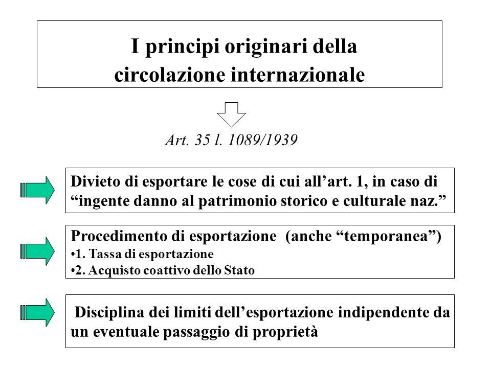"""2 I principi originari della circolazione internazionale Divieto di esportare le cose di cui all'art. 1, in caso di """"ingente danno al patrimonio stori"""