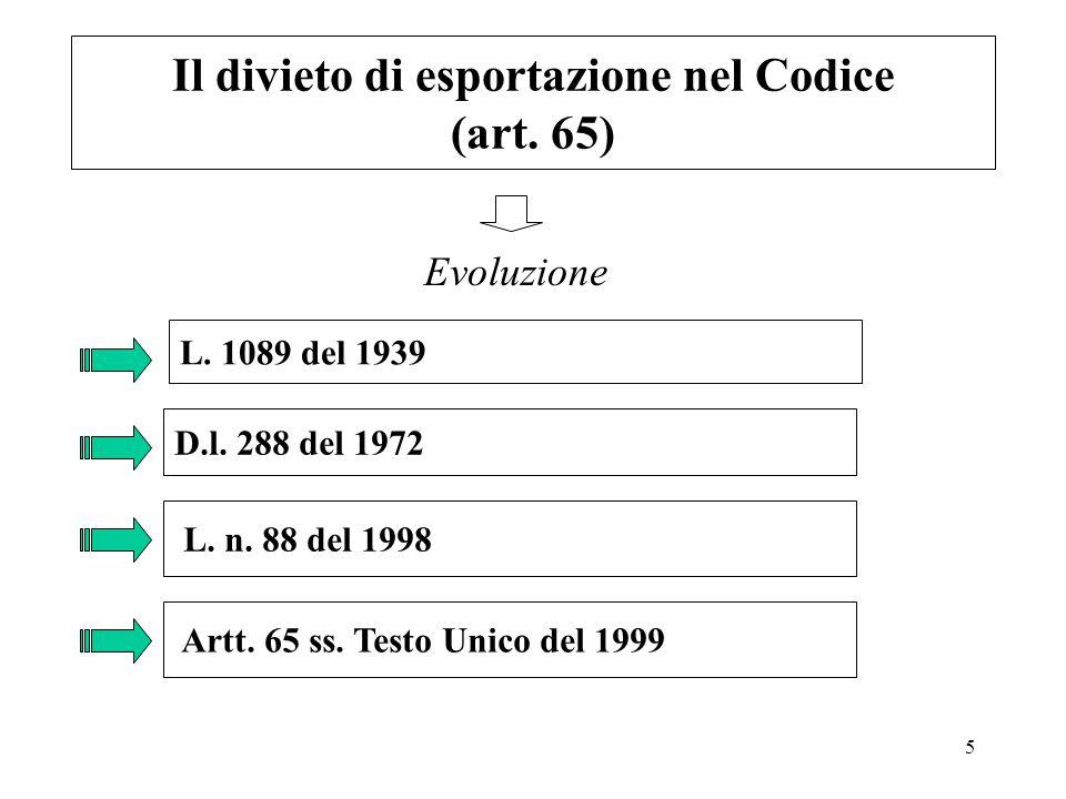 5 Il divieto di esportazione nel Codice (art. 65) Evoluzione L. 1089 del 1939 D.l. 288 del 1972 L. n. 88 del 1998 Artt. 65 ss. Testo Unico del 1999