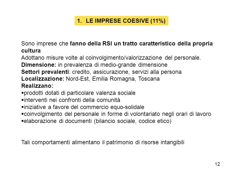 12 1.LE IMPRESE COESIVE (11%) Sono imprese che fanno della RSI un tratto caratteristico della propria cultura Adottano misure volte al coinvolgimento/