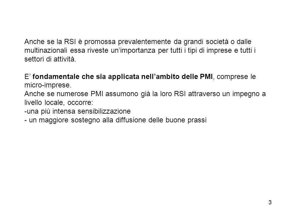 4 La RSI nelle Piccole Medie Imprese (PMI) Caratteristiche delle PMI che agevolano l'assunzione di politiche di RSI: - Riconoscibilità - Approcciabilità - Enfasi sulla persona - Flessibilità Profondo radicamento nel contesto socio- economico locale.