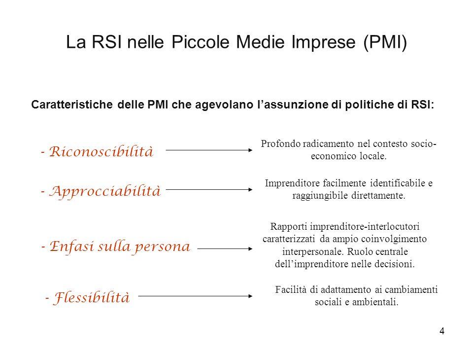 15 PMI della provincia di Pesaro Urbino e RSI: un'indagine esplorativa (2004) ã Campione di 20 imprese selezionate in collaborazione con Assindustria di Pesaro.