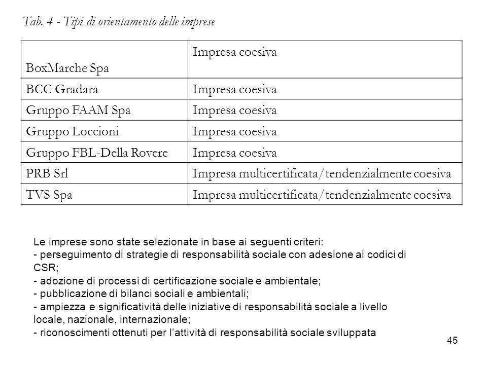 45 Tab. 4 - Tipi di orientamento delle imprese BoxMarche Spa Impresa coesiva BCC GradaraImpresa coesiva Gruppo FAAM SpaImpresa coesiva Gruppo Loccioni