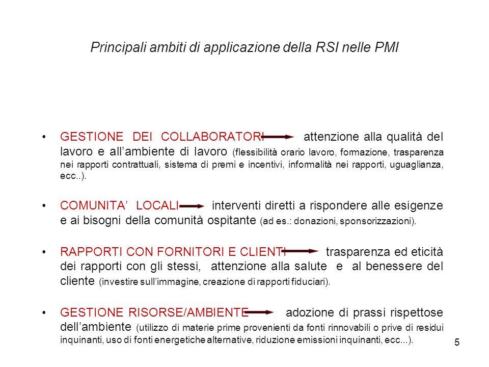 5 GESTIONE DEI COLLABORATORI attenzione alla qualità del lavoro e all'ambiente di lavoro (flessibilità orario lavoro, formazione, trasparenza nei rapp