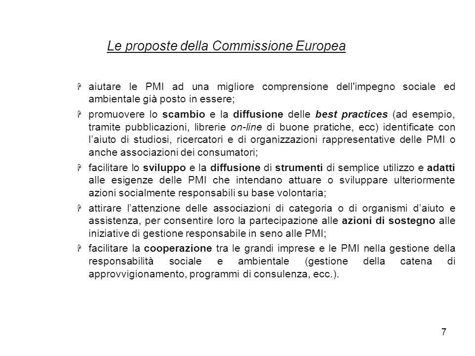 7 Le proposte della Commissione Europea H aiutare le PMI ad una migliore comprensione dell'impegno sociale ed ambientale già posto in essere; H promuo