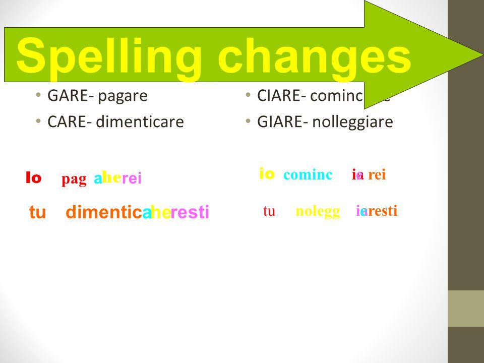 Spelling Changes GARE- pagare CARE- dimenticare CIARE- cominciare GIARE- nolleggiare Spelling changes Io paga he rei tudimentichearesti io cominciaere