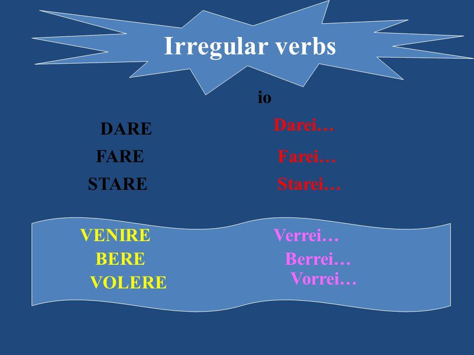 Irregular verbs DARE Darei… FAREFarei… io STAREStarei… VENIREVerrei… BEREBerrei… VOLERE Vorrei…