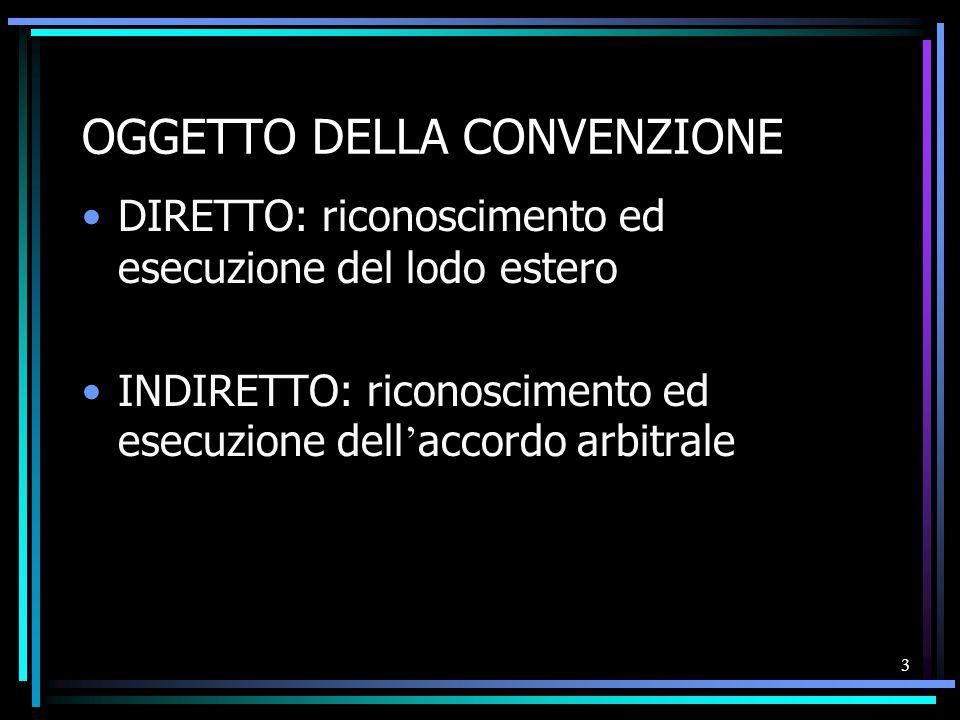 3 OGGETTO DELLA CONVENZIONE DIRETTO: riconoscimento ed esecuzione del lodo estero INDIRETTO: riconoscimento ed esecuzione dell ' accordo arbitrale