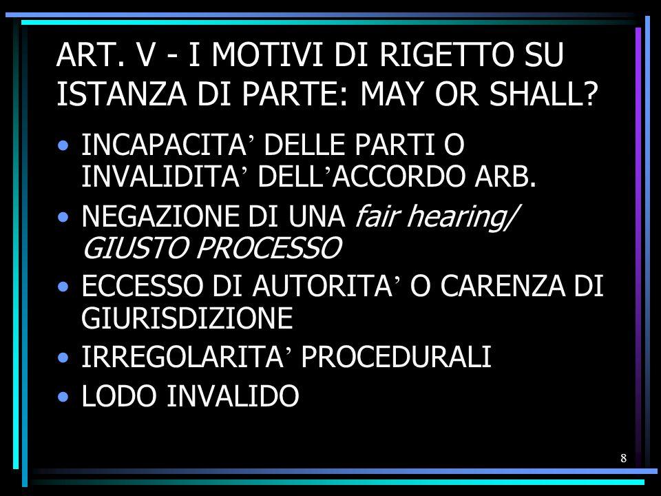 9 SEGUE: I MOTIVI DI RIGETTO RILEVABILI D ' UFFICIO ARBITRABILITA ' ORDINE PUBBLICO