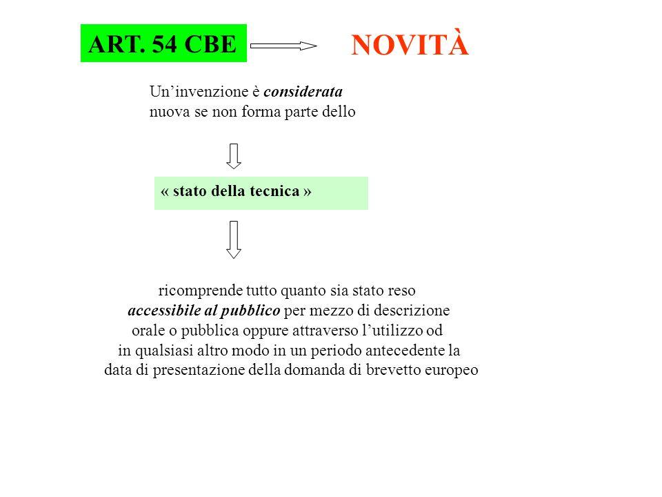 ART. 54 CBE NOVITÀ Un'invenzione è considerata nuova se non forma parte dello « stato della tecnica » ricomprende tutto quanto sia stato reso accessib
