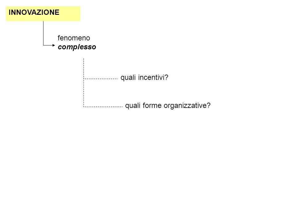INNOVAZIONE fenomeno complesso quali incentivi? quali forme organizzative?