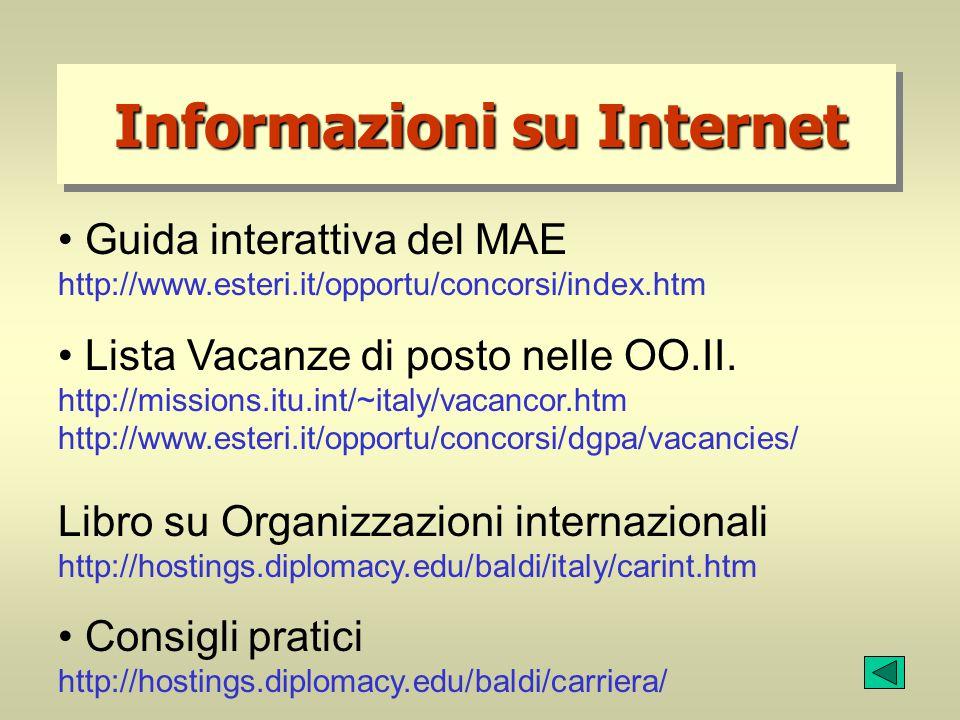 Informazioni su Internet Guida interattiva del MAE http://www.esteri.it/opportu/concorsi/index.htm Lista Vacanze di posto nelle OO.II. http://missions