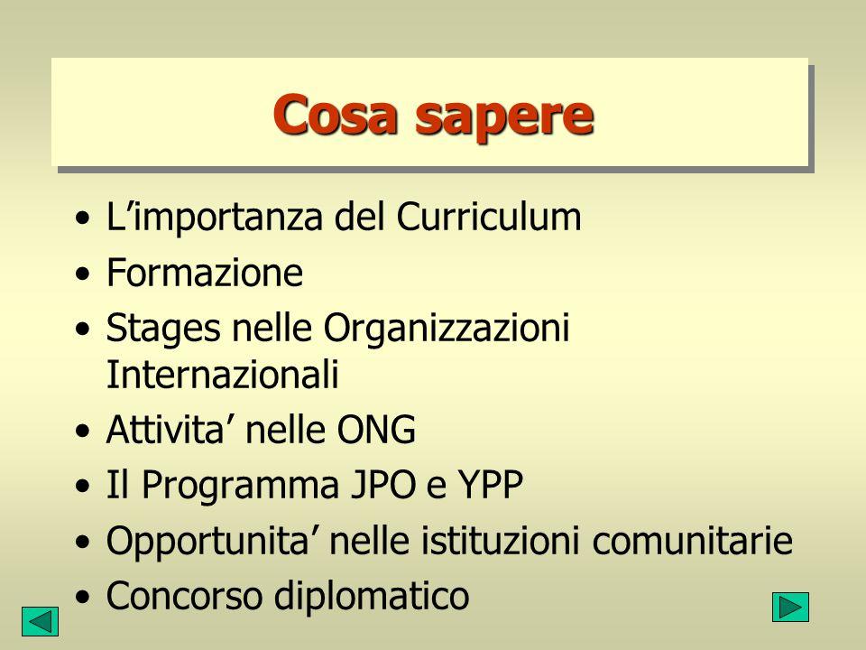 Cosa sapere L'importanza del Curriculum Formazione Stages nelle Organizzazioni Internazionali Attivita' nelle ONG Il Programma JPO e YPP Opportunita'