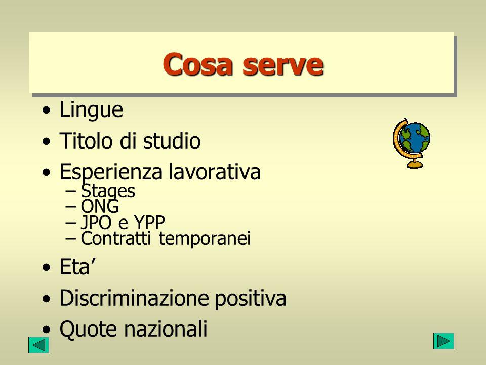 Esempio di vacanza di posto (2) Requirements:Advanced University degree or equivalent in political/international relations, law or history.