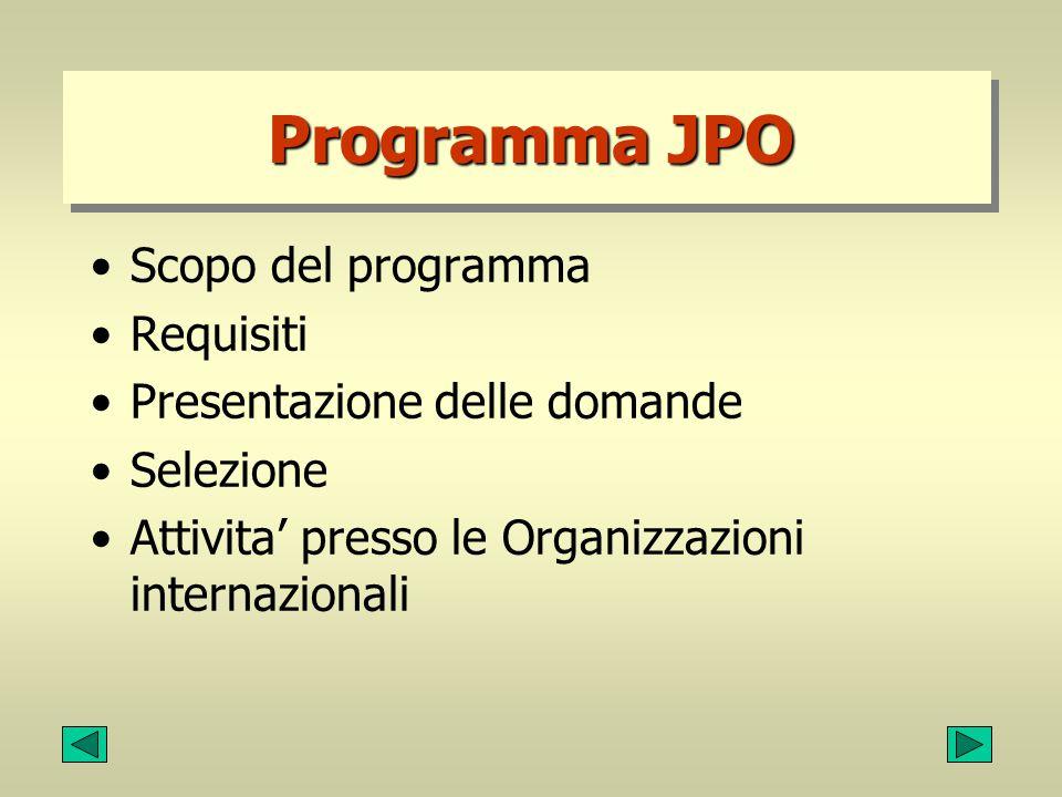 Programma JPO Scopo del programma Requisiti Presentazione delle domande Selezione Attivita' presso le Organizzazioni internazionali