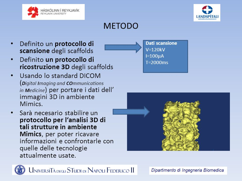 METODO Definito un protocollo di scansione degli scaffolds Definito un protocollo di ricostruzione 3D degli scaffolds Usando lo standard DICOM ( Digital Imaging and COmmunications in Medicine ) per portare i dati dell' immagini 3D in ambiente Mimics.