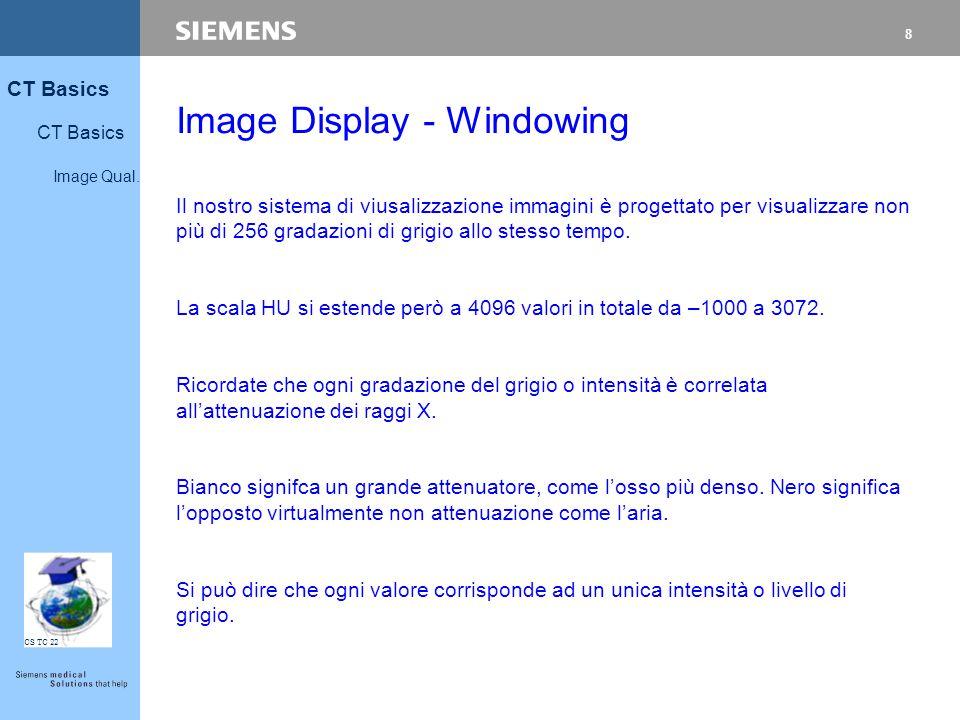 8 CT Basics Image Qual. CS TC 22 Image Display - Windowing Il nostro sistema di viusalizzazione immagini è progettato per visualizzare non più di 256
