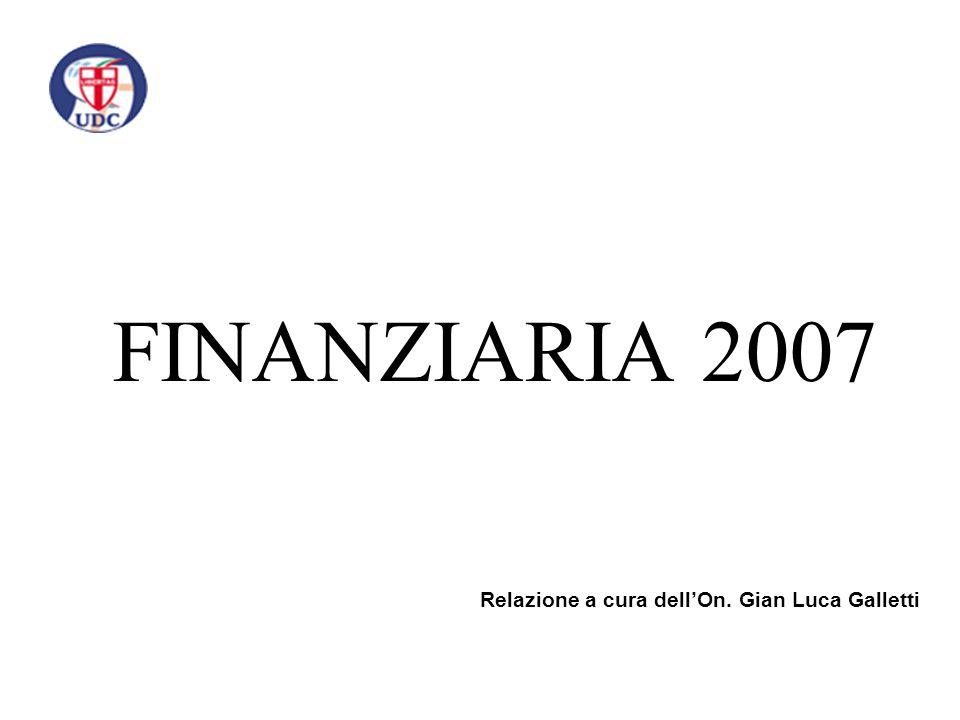 FINANZIARIA 2007 Relazione a cura dell'On. Gian Luca Galletti
