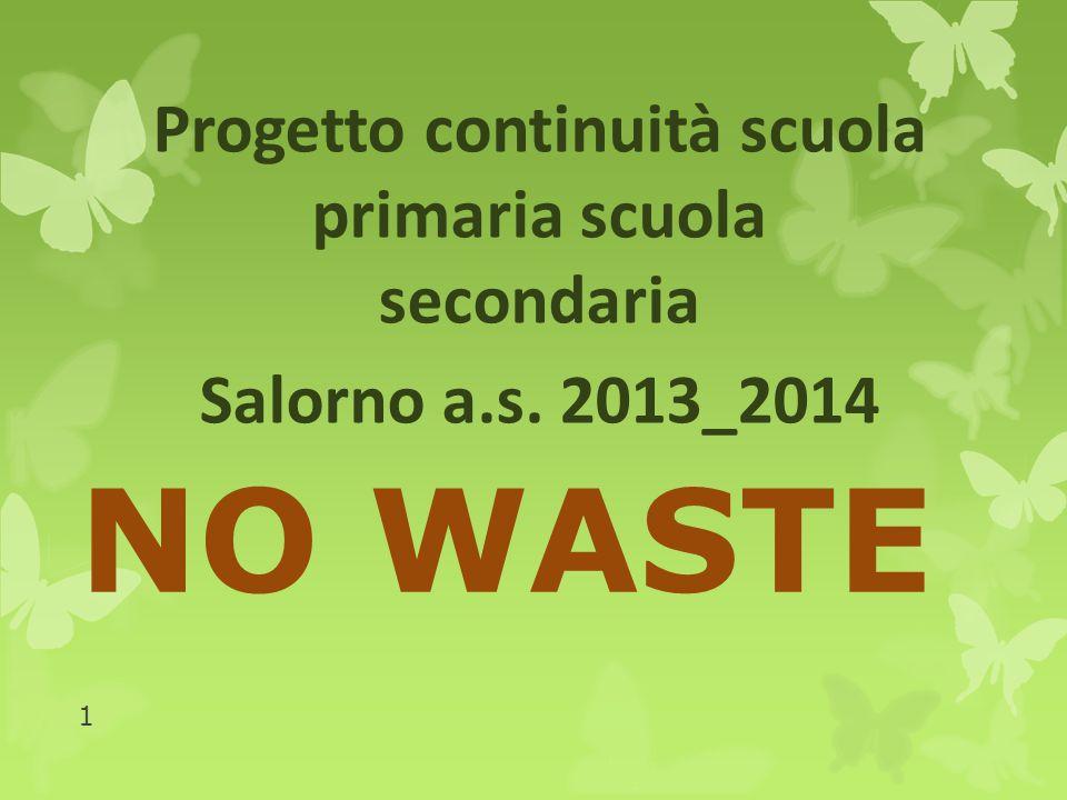 NO WASTE Progetto continuità scuola primaria scuola secondaria Salorno a.s. 2013_2014 1