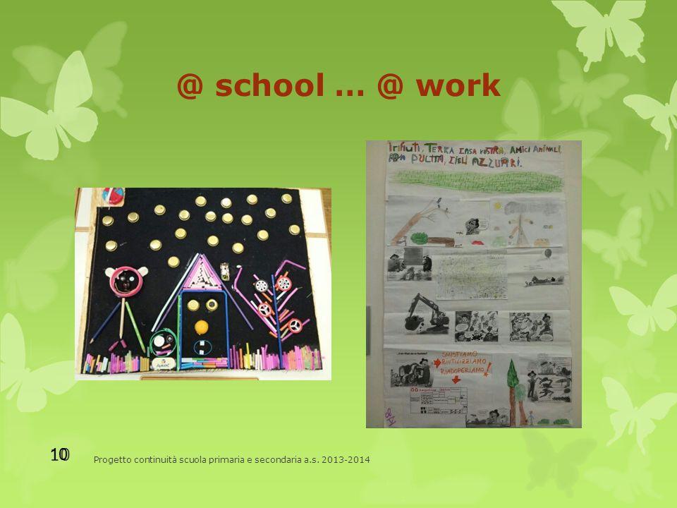 @ school … @ work Progetto continuità scuola primaria e secondaria a.s. 2013-2014 10