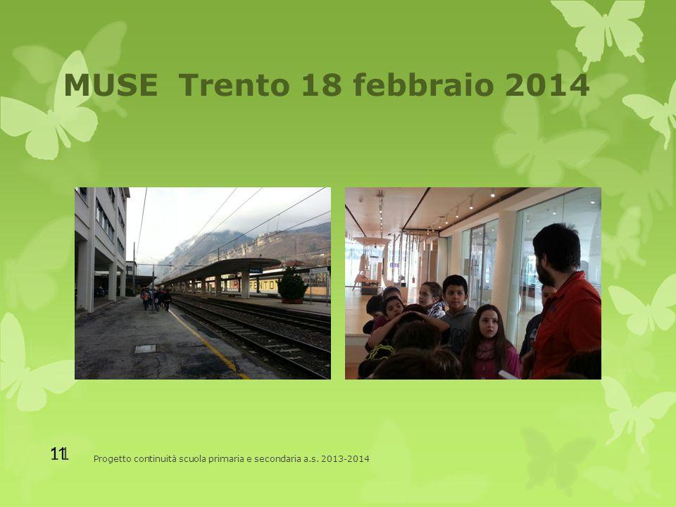 MUSE Trento 18 febbraio 2014 Progetto continuità scuola primaria e secondaria a.s. 2013-2014 11
