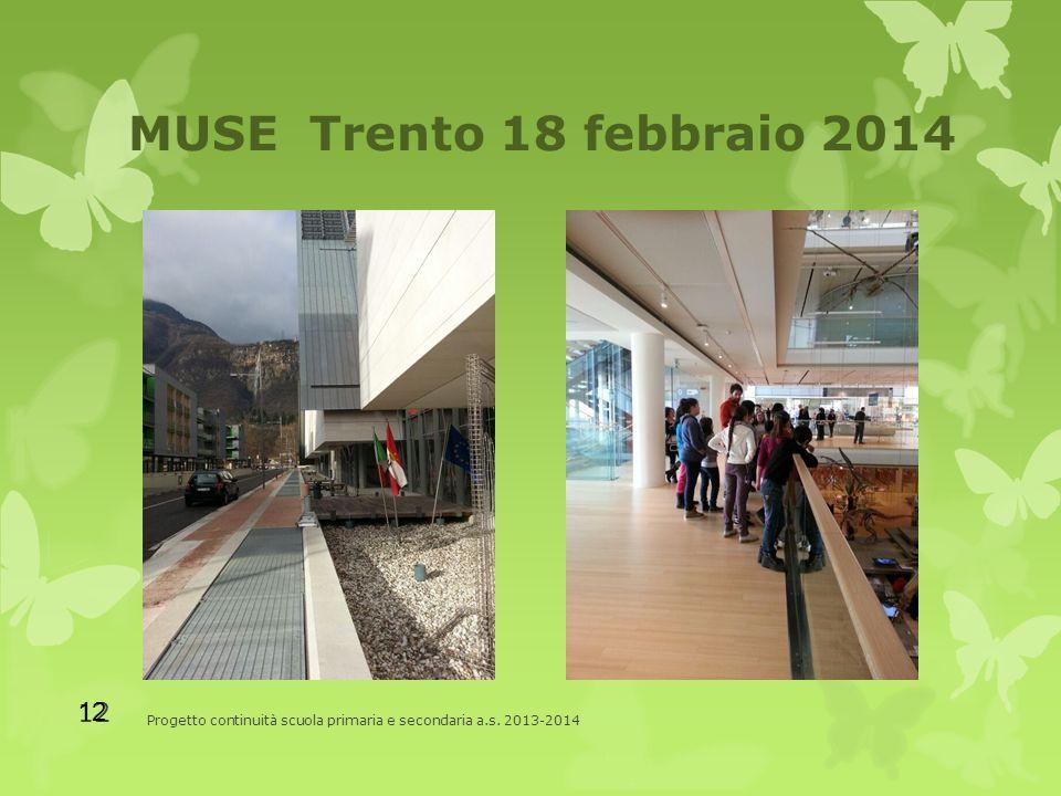 MUSE Trento 18 febbraio 2014 Progetto continuità scuola primaria e secondaria a.s. 2013-2014 12