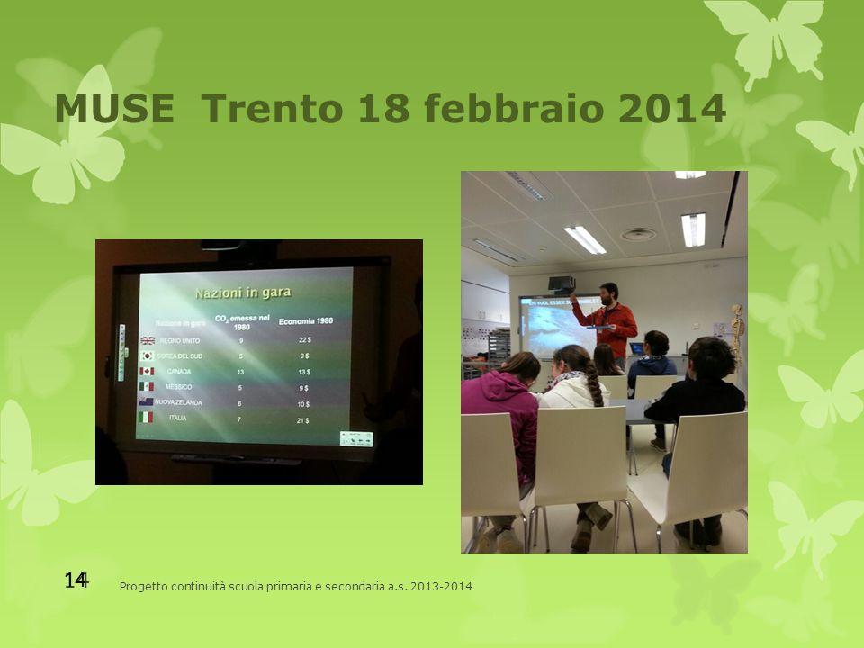 MUSE Trento 18 febbraio 2014 Progetto continuità scuola primaria e secondaria a.s. 2013-2014 14
