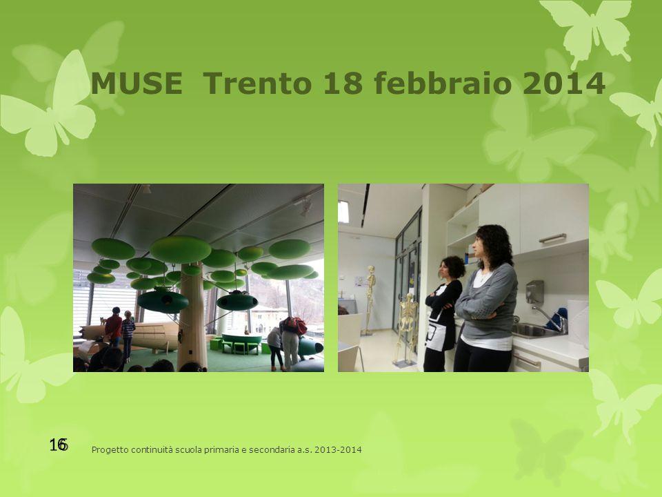 MUSE Trento 18 febbraio 2014 Progetto continuità scuola primaria e secondaria a.s. 2013-2014 16