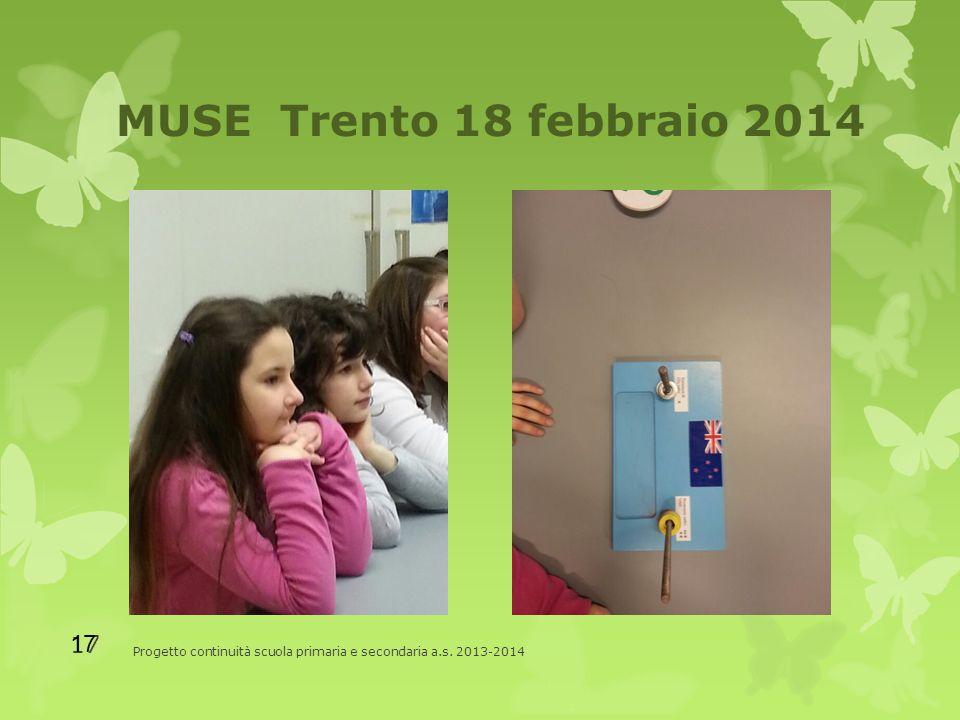 MUSE Trento 18 febbraio 2014 Progetto continuità scuola primaria e secondaria a.s. 2013-2014 17