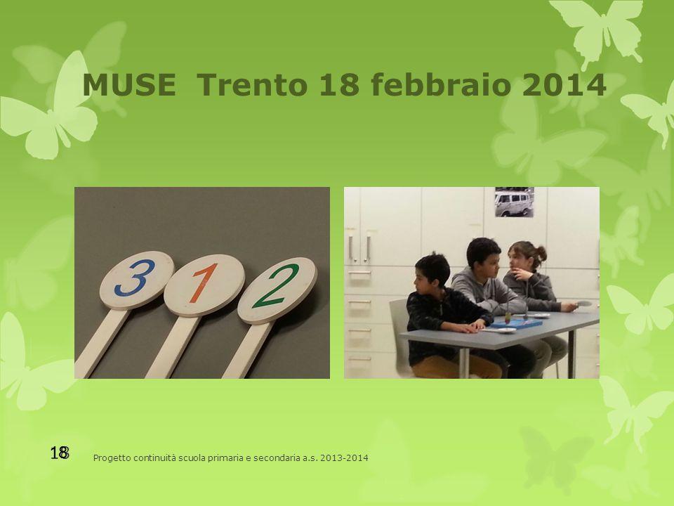 MUSE Trento 18 febbraio 2014 Progetto continuità scuola primaria e secondaria a.s. 2013-2014 18