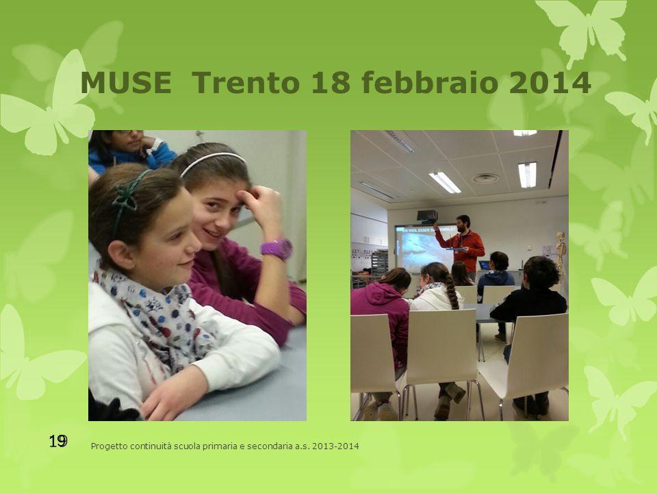 MUSE Trento 18 febbraio 2014 Progetto continuità scuola primaria e secondaria a.s. 2013-2014 19