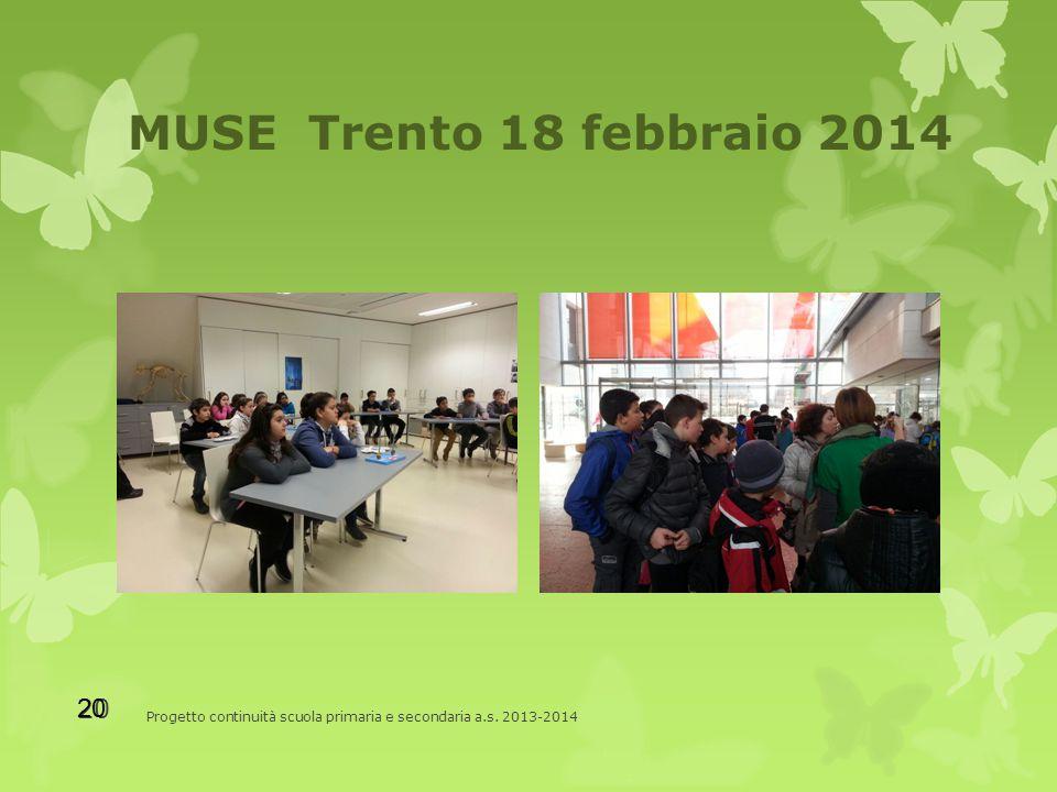 MUSE Trento 18 febbraio 2014 Progetto continuità scuola primaria e secondaria a.s. 2013-2014 20