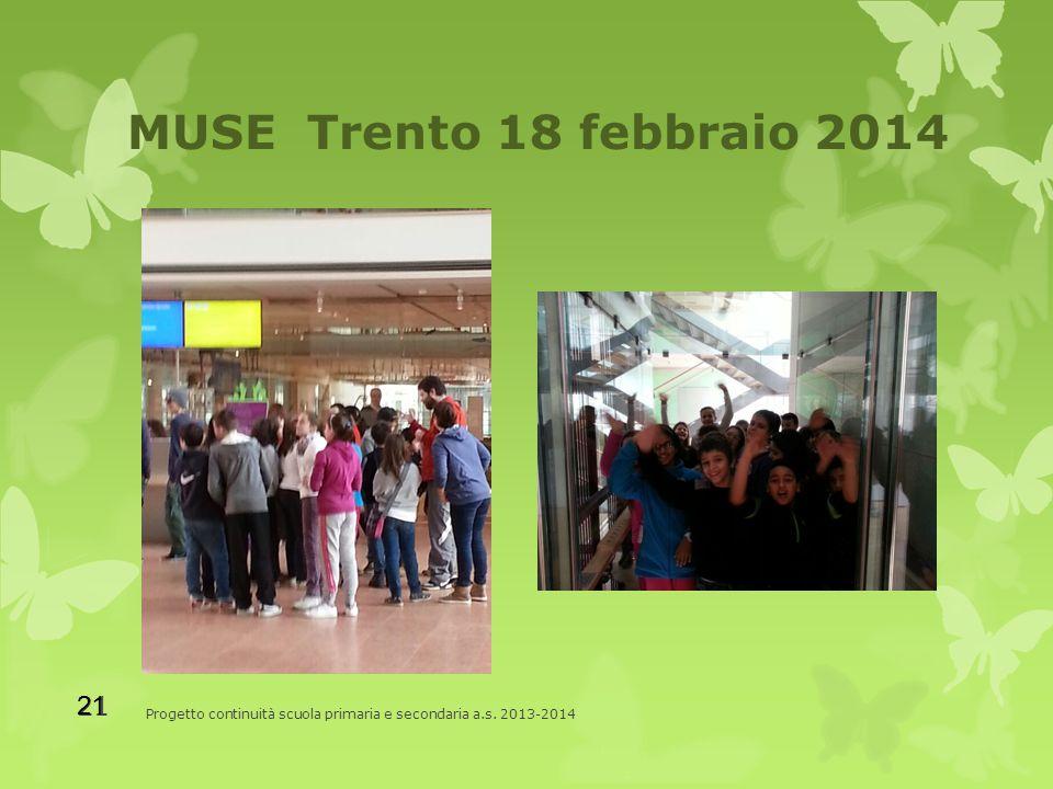 MUSE Trento 18 febbraio 2014 Progetto continuità scuola primaria e secondaria a.s. 2013-2014 21