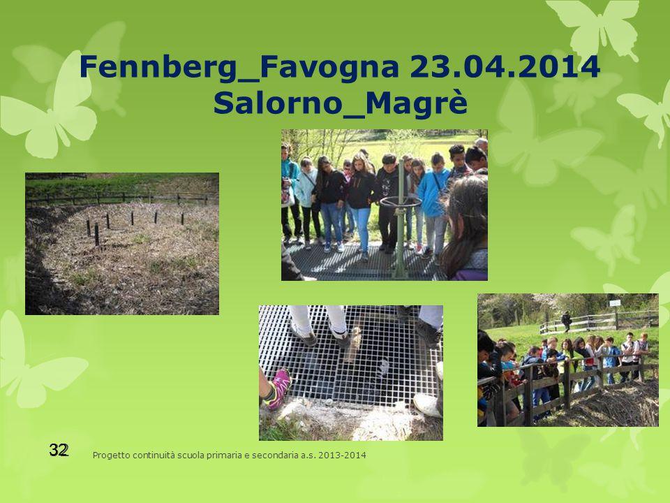 Fennberg_Favogna 23.04.2014 Salorno_Magrè Progetto continuità scuola primaria e secondaria a.s.