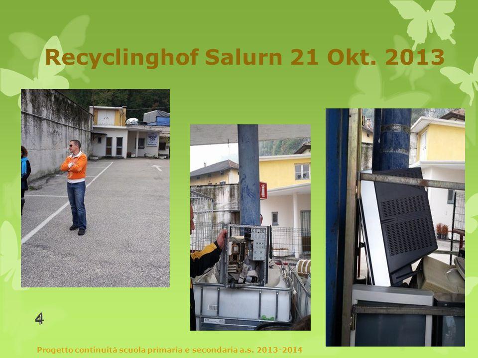 Recyclinghof Salurn 21 Okt. 2013 Progetto continuità scuola primaria e secondaria a.s.