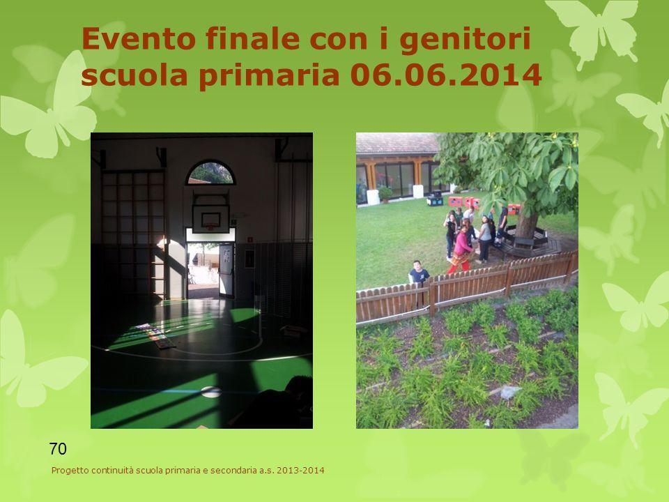 Evento finale con i genitori scuola primaria 06.06.2014 Progetto continuità scuola primaria e secondaria a.s.