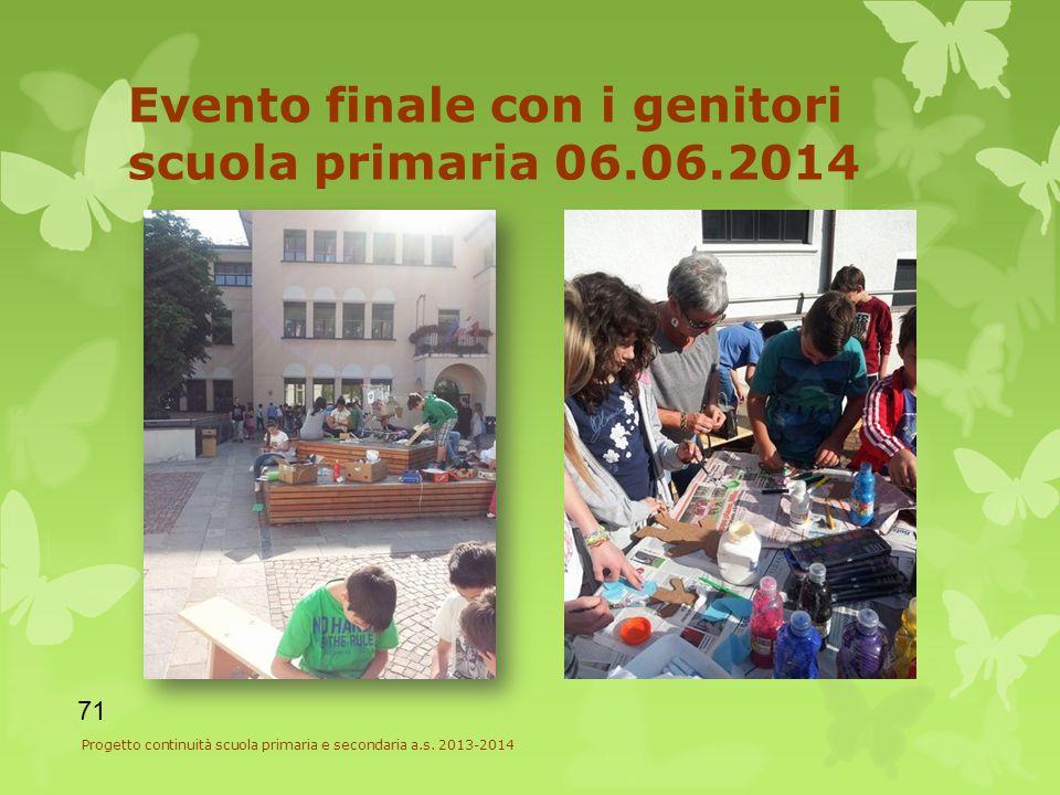 Evento finale con i genitori scuola primaria 06.06.2014 71 Progetto continuità scuola primaria e secondaria a.s.