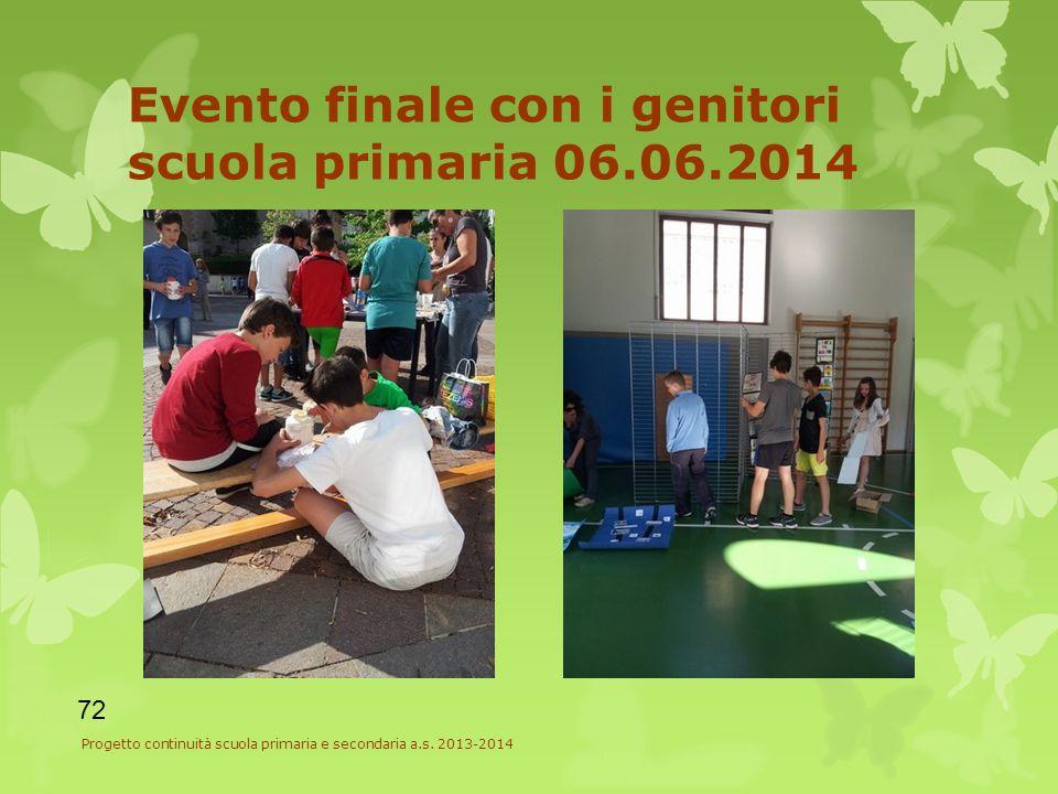 Evento finale con i genitori scuola primaria 06.06.2014 72 Progetto continuità scuola primaria e secondaria a.s.