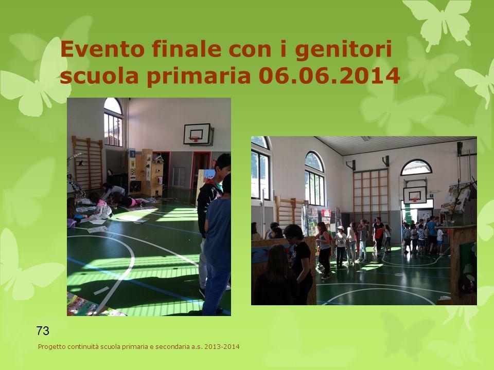 Evento finale con i genitori scuola primaria 06.06.2014 73 Progetto continuità scuola primaria e secondaria a.s.