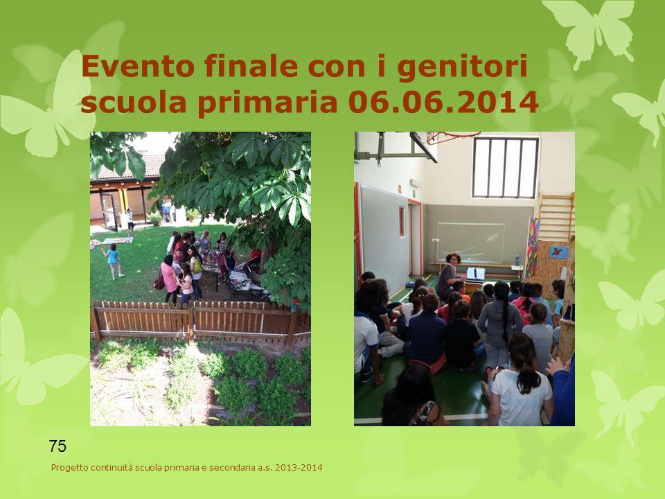 Evento finale con i genitori scuola primaria 06.06.2014 75 Progetto continuità scuola primaria e secondaria a.s.