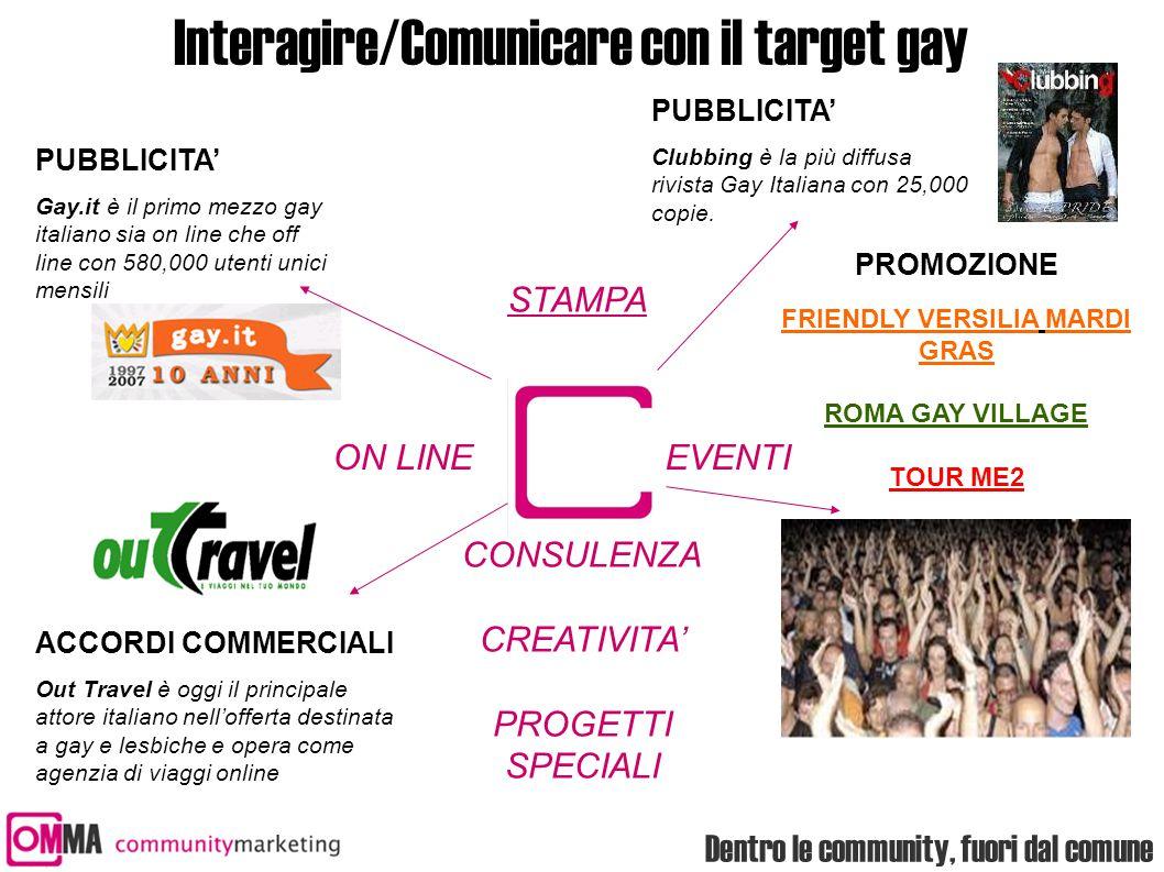 Interagire/Comunicare con il target gay ACCORDI COMMERCIALI Out Travel è oggi il principale attore italiano nell'offerta destinata a gay e lesbiche e opera come agenzia di viaggi online PUBBLICITA' Gay.it è il primo mezzo gay italiano sia on line che off line con 580,000 utenti unici mensili ON LINEEVENTI STAMPA PUBBLICITA' Clubbing è la più diffusa rivista Gay Italiana con 25,000 copie.