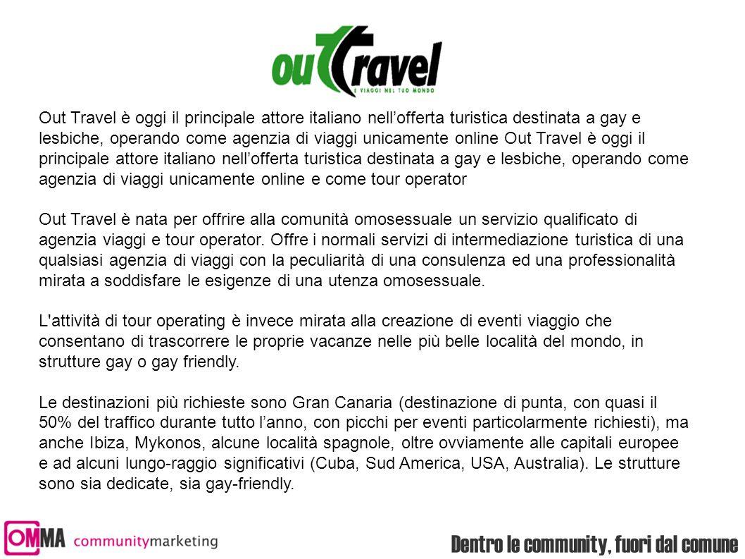 Dentro le community, fuori dal comune Out Travel è oggi il principale attore italiano nell'offerta turistica destinata a gay e lesbiche, operando come