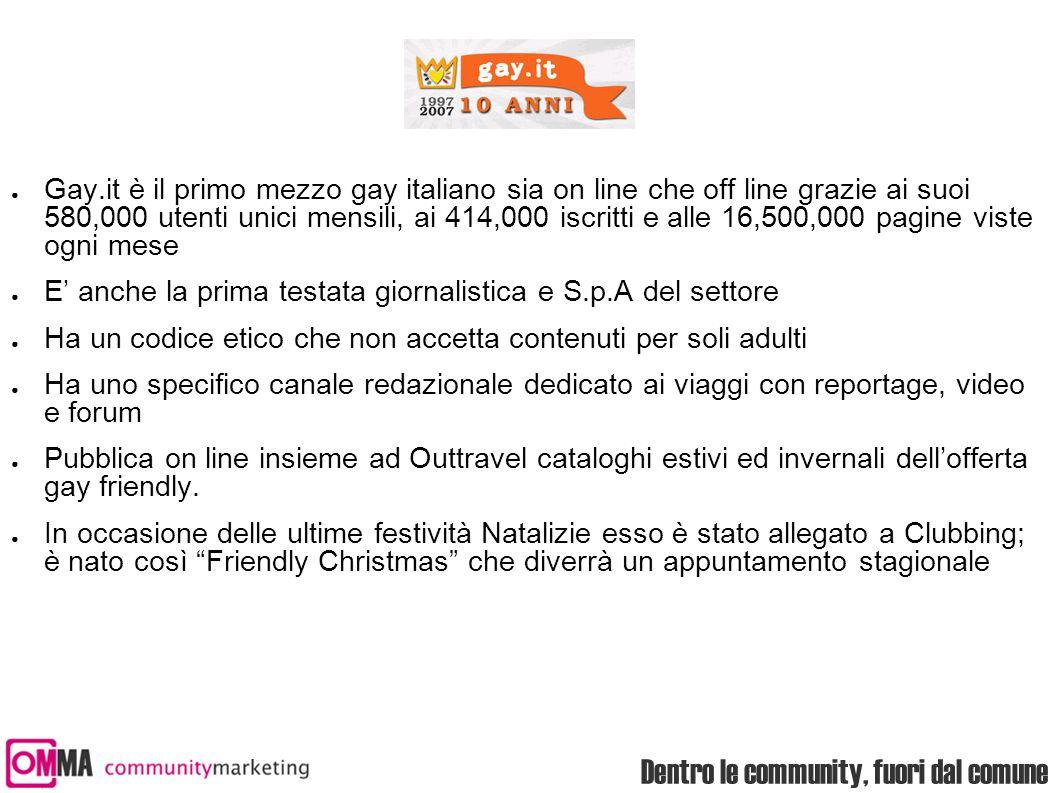 Dentro le community, fuori dal comune ● Gay.it è il primo mezzo gay italiano sia on line che off line grazie ai suoi 580,000 utenti unici mensili, ai